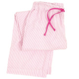 Women's woven cotton sleep pants in pink & white seersucker