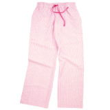 Women's pink & white striped cotton seersucker lounge pants