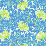 Swatch of blue, lime green and white floral print on 100% cotton poplin