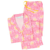 Women's pink and yellow floral, all cotton, long sleeve pajamas.