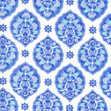 Swatch of blue and white design on 100% cotton poplin