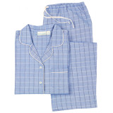 Women's 100% cotton classic long sleeve, boyfriend-style pajamas in blue plaid.