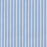 Swatch of blue and white stripe, yarn-dyed woven cotton