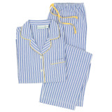 Women's classic blue and white stripe yarn-dyed, woven soft cotton long sleeve boyfriend style pajama set
