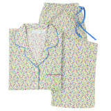 Women's mini floral pattern on lightweight cotton cambric long sleeve pajamas