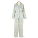 Women's mini floral pattern on lightweight cotton cambric long sleeve pajamas