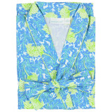 Women's 100% cotton poplin shawl collar bathrobe in a blue and green floral design.
