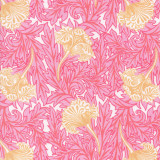 Swatch of pink and yellow floral design for our cotton poplin Carlyle Pink bathrobe