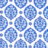 Swatch of 100% cotton poplin bathrobe in blue & white design