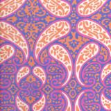 Swatch of our Pauley, 100% cotton poplin robe design in purple, pink and orange