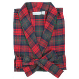 Women's green & red plaid cozy, cotton flannel robe