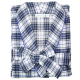 Women's blue and white plaid, cotton flannel wrap robe with shawl collar