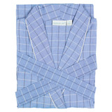 Women's blue plaid classic yarn-dyed cotton robe with shawl collar
