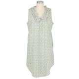 Women's multi-colored, mini floral design on lightweight cotton cambric sleeveless nightgown with ruffled collar.