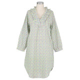 Women's mini floral design on lightweight cotton cambric nightshirt with long sleeves and ruffled collar