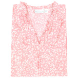 Women's lightweight cotton cambric long sleeve nightshirt with ruffled collar in a pink and white design.