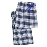 Women's 100% cotton flannel lounge pants in a classic blue and white plaid
