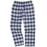 Women's 100% cotton flannel sleep pants in a blue and white plaid