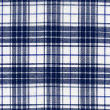 Swatch of 100% cotton flannel in a blue and white plaid