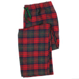 Women's 100% woven cotton flannel lounge pants in festive red and green plaid
