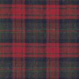 Swatch of 100% cotton flannel in red and green plaid