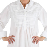 Women's white lightweight cotton cambric nightshirt closeup