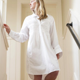 Women's white lightweight soft cotton nightshirt
