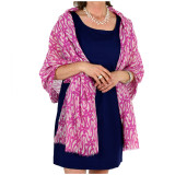 Women's soft and lightweight 100% Merino wool shawl in purple and white