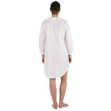 All soft cotton white long sleeve knee length nightshirt