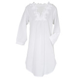Pure cotton cambric  lightweight women's long sleeve nightshirt