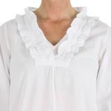 Women's 100%  soft cotton long sleeve white nightgown