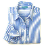Women's blue & white stripe cotton, long sleeve, button-down shirt