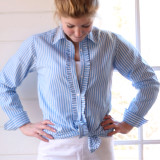 Blue and white stripe cotton, long sleeve, button-down shirt for women