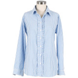 Blue and white stripe long sleeve shirt, button-down, 100% cotton