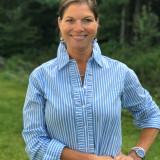 Women's blue & white stripe cotton, button-down shirt