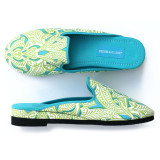 Clare Lime canvas slippers