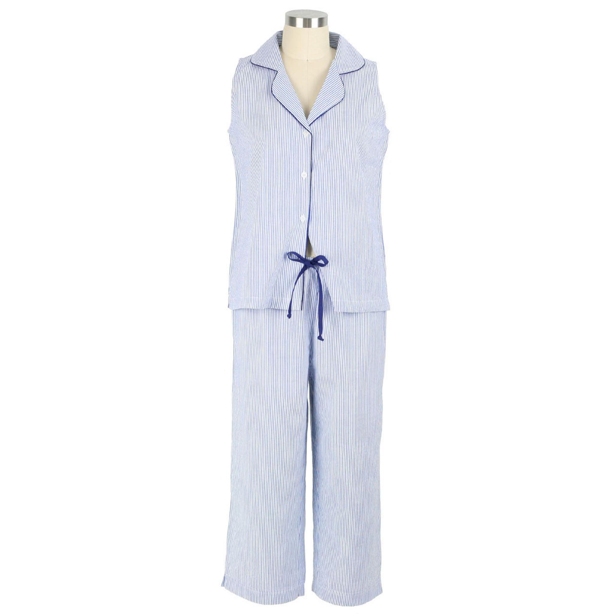 Blue Seersucker Navy Cotton Sleeveless Capri Pajamas Needham Lane Ltd