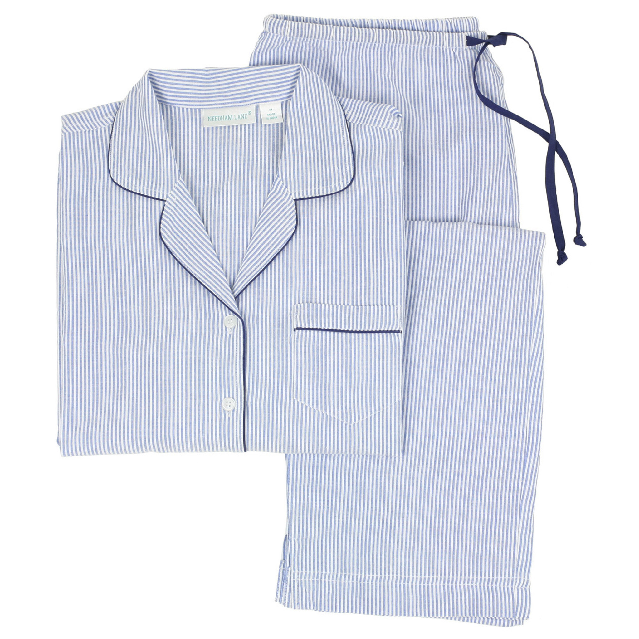 Blue Seersucker Navy Cotton Classic Long Sleeve Pajamas Needham Lane Ltd