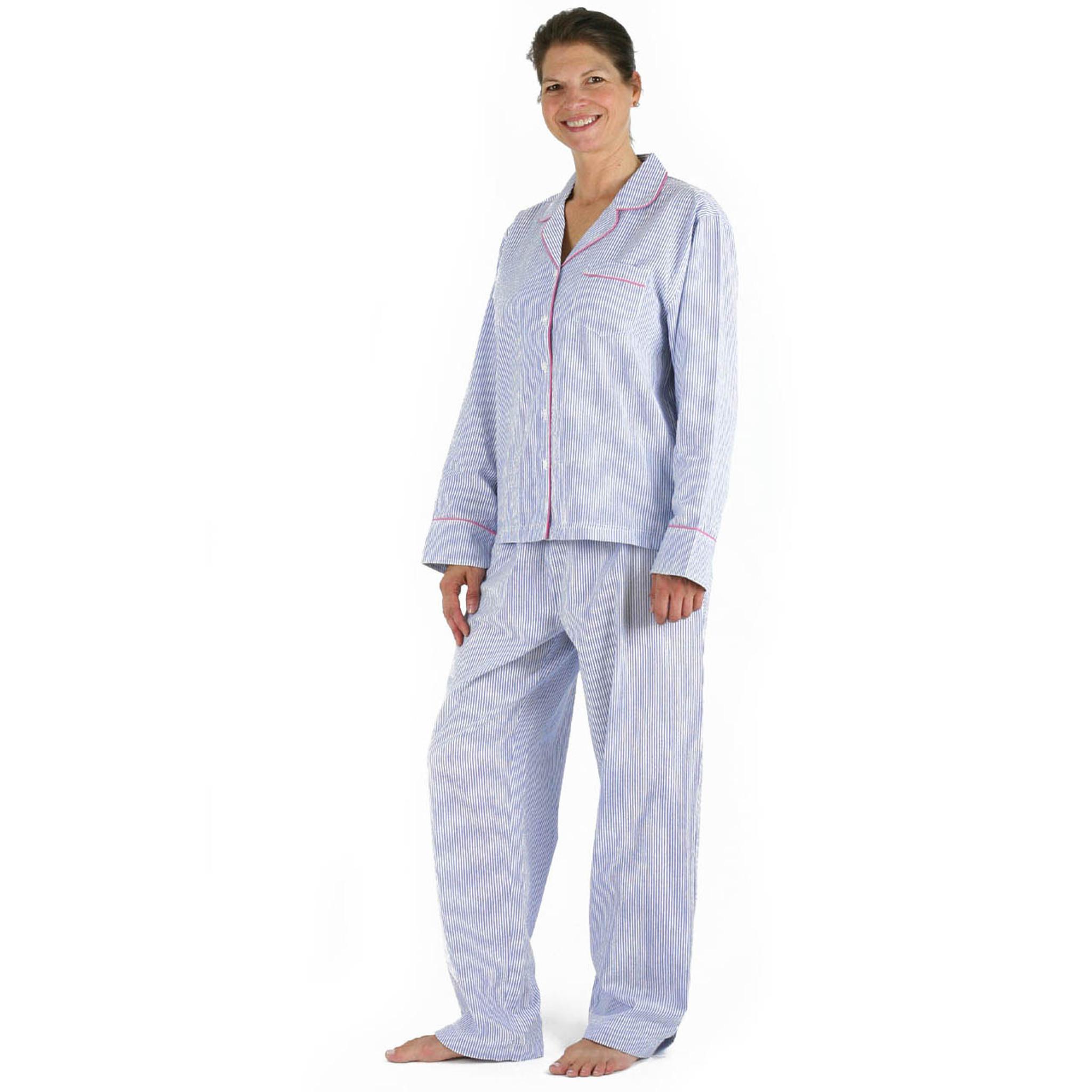 Blue Seersucker Pink Cotton Classic Long Sleeve Pajamas Needham Lane Ltd