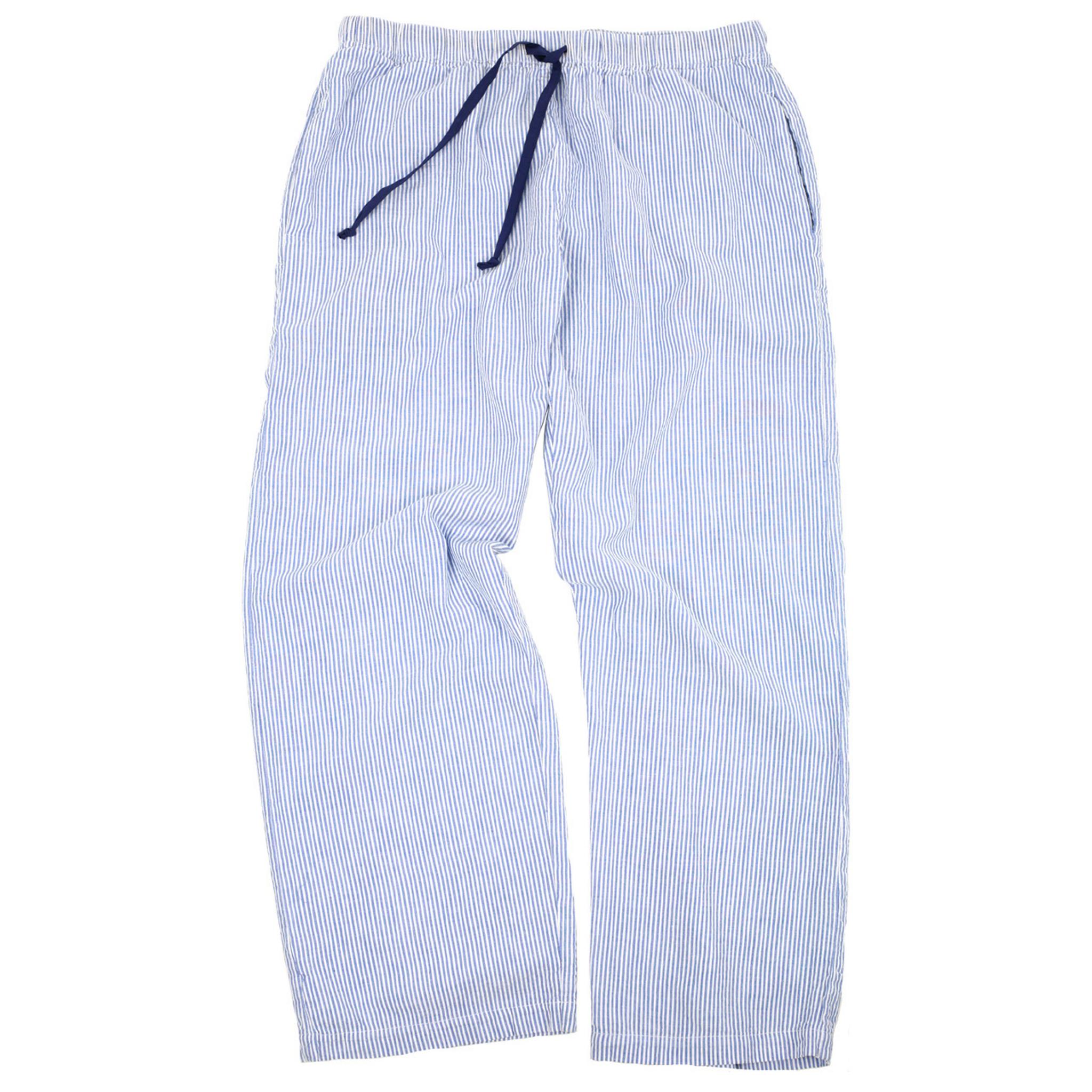 Blue Seersucker Cotton Lounge Pants Needham Lane Ltd