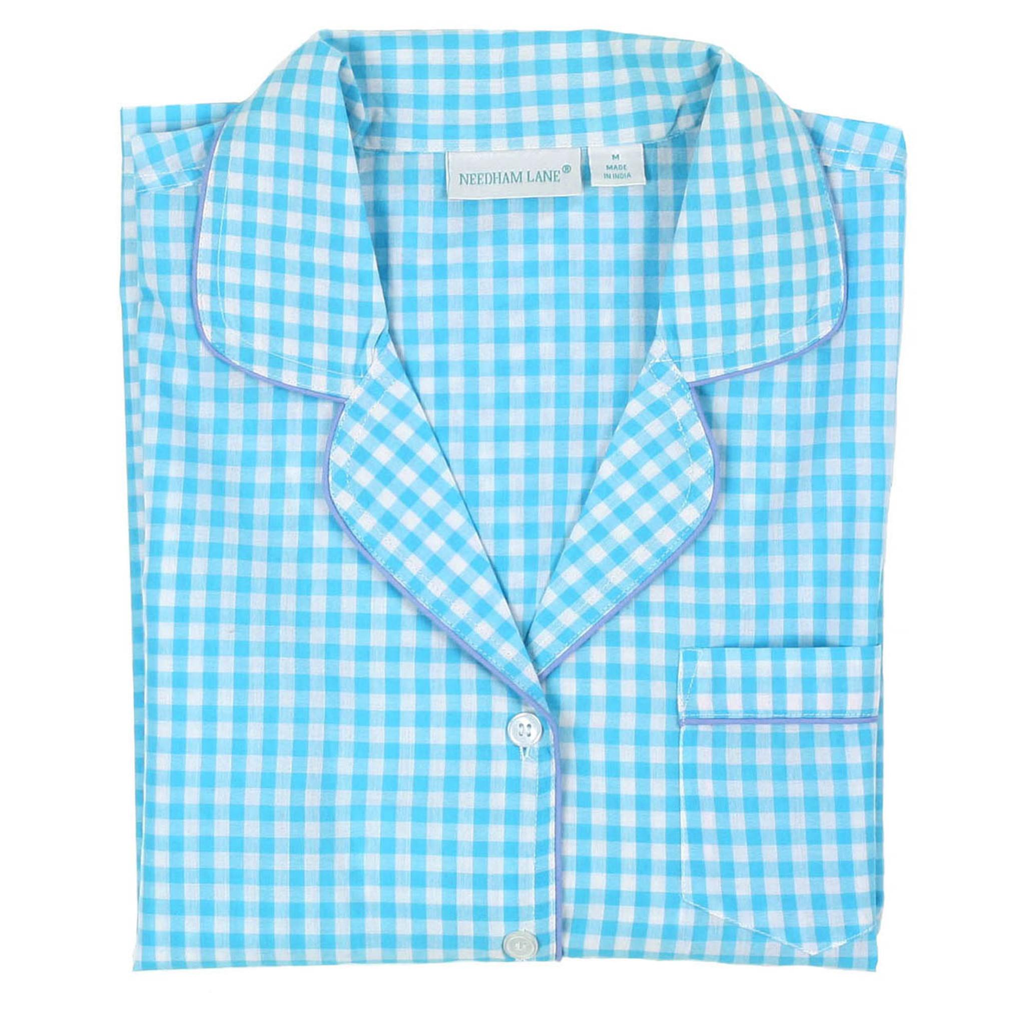 11a8b04648 Aqua Gingham Short Sleeve Pajamas - Needham Lane Ltd.