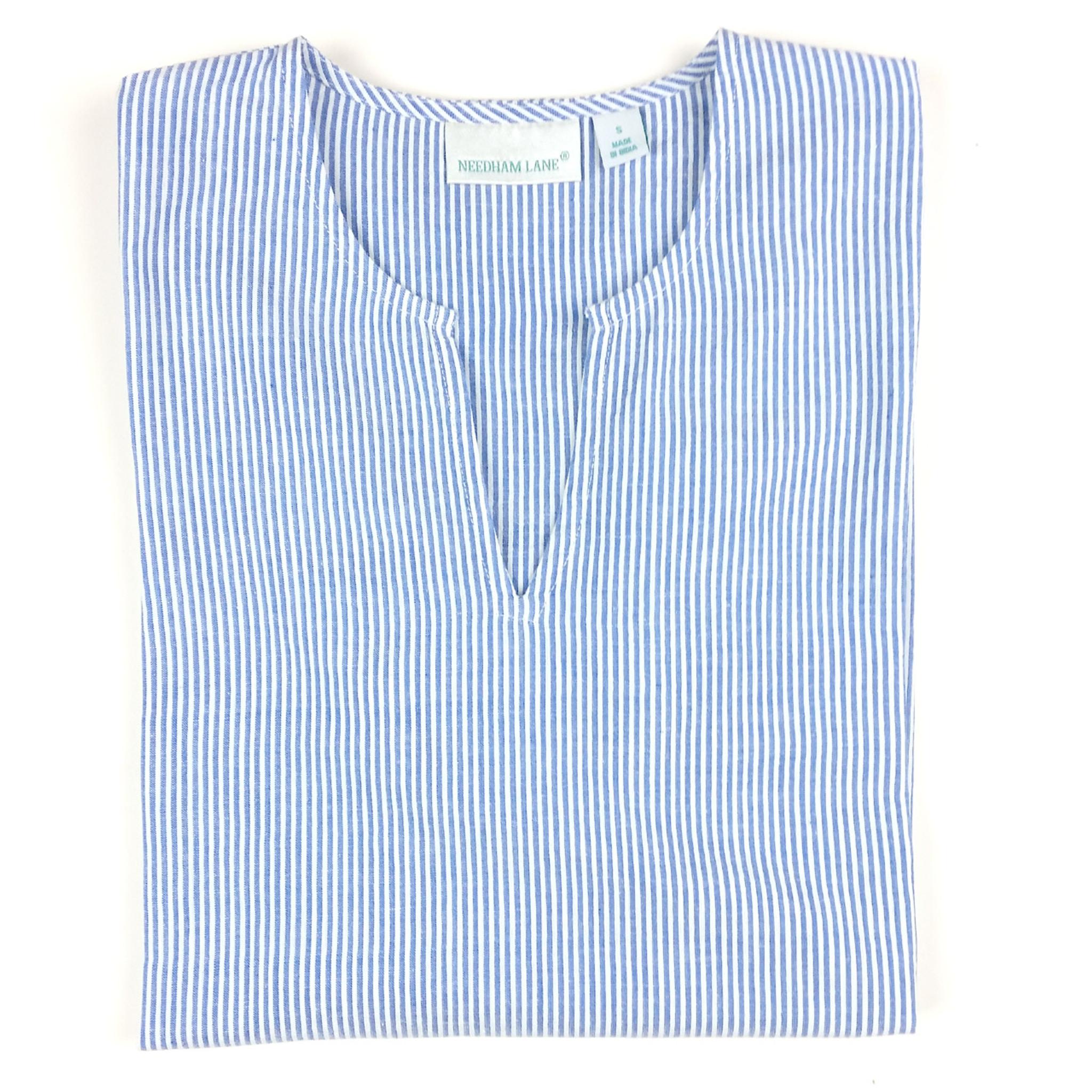 Blue Seersucker Cotton Seersucker Tunic Needham Lane Ltd