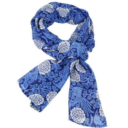 Women's blue and white soft gauzy scarf