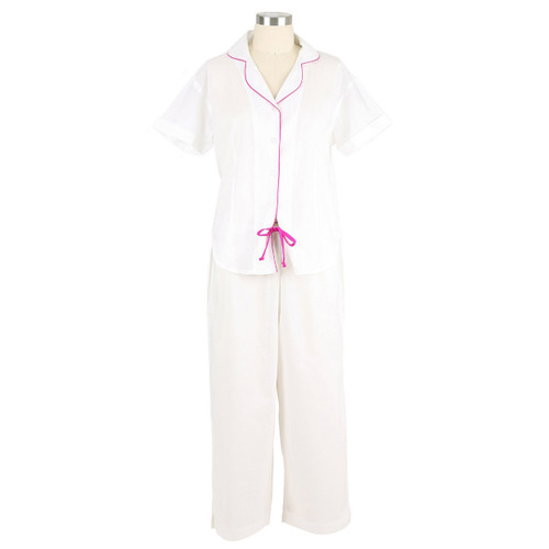 Short sleeve, lightweight cotton cambric pj set