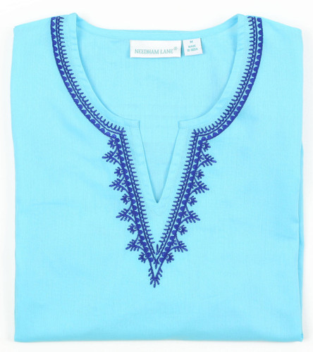 Carolina Aqua embroidered tunic