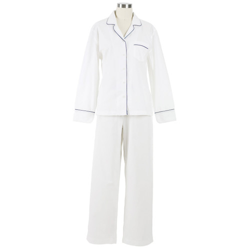 Ladies classic long-sleeved button down pajama set in cotton