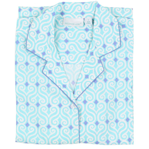 Ladies button-down nightshirt in 100% cotton