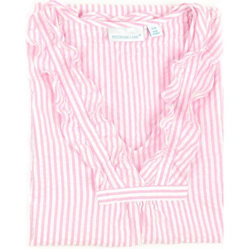 Pink & White Striped seersucker nightgown - closeup
