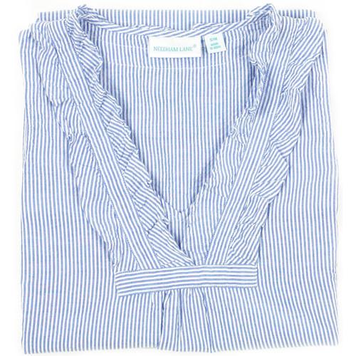 Blue & White Striped seersucker nightgown closeup