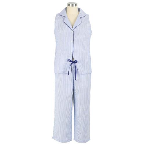 Sleeveless seersucker pajamas for women